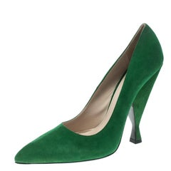 Prada Green Suede Pointed Toe Pumps Size 40