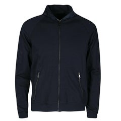 Prada Navy Blue Knit Hooded Zip Front Sweatshirt L