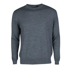 Prada Grey Slub Knit Long Sleeve Crew Neck Sweater L