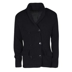 Ralph Lauren Black Chunky Knit Double Breasted Cardigan M