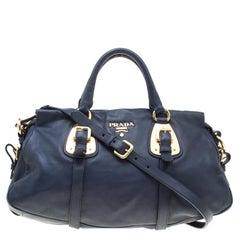Prada Navy Blue Leather Satchel