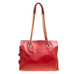 Prada Red Leather and Nylon Chain Handle Tote