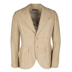 Ralph Lauren Beige Herringbone Weave Linen Blend Two Button Blazer M