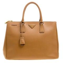 Prada Dark Beige Vitello Shine Leather Top Handle Bag