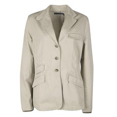 Ralph Lauren Beige Cotton Twill Leather Trim Button Front Jacket L