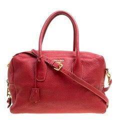Prada Red Vitello Daino Leather Top Handle Bag