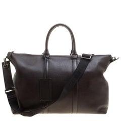 Prada Dark Brown Leather Luggage Weekender Bag