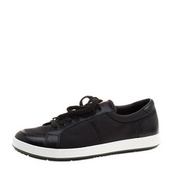 Prada Sport Black Leather and Nylon Low Top Sneakers Size 42