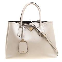 Prada Grey Saffiano Cuir Leather Double Top Handle Bag