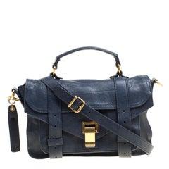Proenza Schouler Dark Blue Leather Small PS1 Top Handle Bag