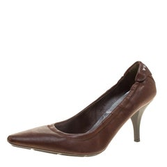 Prada Sport Brown Leather Scrunch Pointed Toe Pumps Size 36
