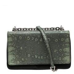 Prada Green Green/Black Nylon and Lizard Shoulder Bag