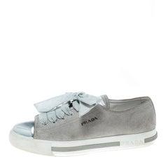 Prada Sport Grey/Metallic Silver Suede and Leather Cap Toe Platform Sneakers Siz