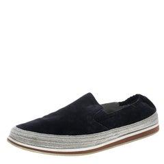 Prada Sport Navy Blue Suede Espadrille Sneakers Size 42.5