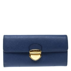 Prada Blue Saffiano Tuc Leather Continental Wallet