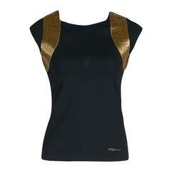 Roberto Cavalli Black Jersey Gold Bead Embellished Cap Sleeve Top M
