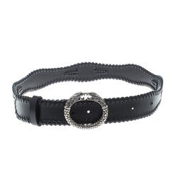 Roberto Cavalli Black Leather Braided Serpent Buckle Belt 85cm