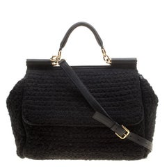 Dolce and Gabbana Black Crochet Fabric Large Miss Sicily Top Handle Bag