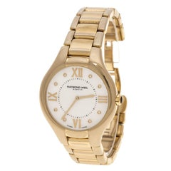 Raymond Weil White Mother of Pearl Gold Plated Stainless Steel Noemia 5136 Women