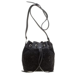 Rochas Black Lace and Leather Mini Duffle Drawstring Bucket Bag