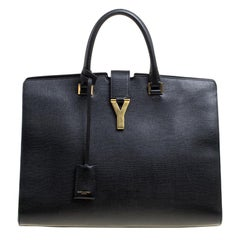 Saint Laurent Black Textured Leather Large Y Cabas Chyc Tote