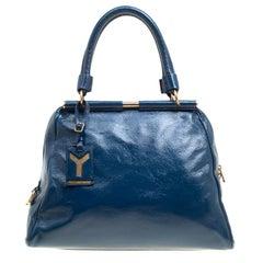 Saint Laurent Blue Patent Leather Medium Majorelle Satchel