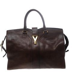Saint Laurent Brown Leather Large Cabas Chyc Tote