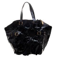 Saint Laurent Black Patent Leather Large Floral Applique Downtown Tote