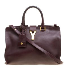 Saint Laurent Burgundy Leather Small Cabas Chyc Tote
