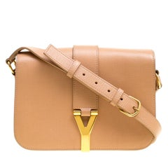 Saint Laurent Beige Leather Medium Chyc Flap Shoulder Bag