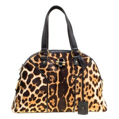 Saint Laurent Beige Leopard Print Calfhair Large Muse Bag