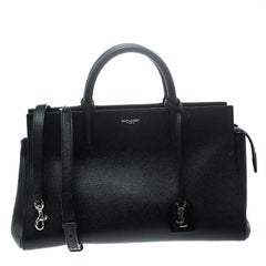 Saint Laurent Black Leather Small Cabas Rive Gauche Tote