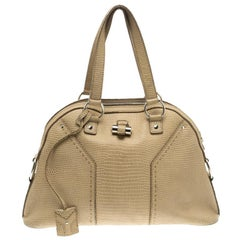Saint Laurent Paris Beige Lizard Embossed Leather Large Muse Bag
