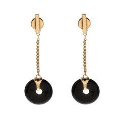 Saint Laurent Paris Black Resin Disc Gold Tone Clip-on Drop Earrings