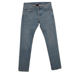 Saint Laurent Paris Blue Light Wash Faded Effect Distressed Denim Jeans M