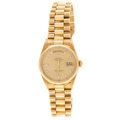 Rolex Diamant 18K Gelb Gold Tagesanzeige Präsident Damen Armbanduhr 35MM