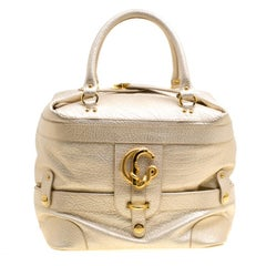 Roberto Cavalli Metallic Light Gold Leather Tote