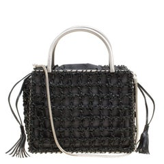 Salvatore Ferragamo Black Woven Leather Top Handle Shoulder Bag