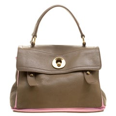Saint Laurent Paris Taupe/Pink Leather and Canvas Muse Two Satchel
