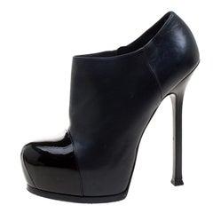 Saint Laurent Paris Two Tone Leather Tribtoo Cap Toe Platform Ankle Boots Size 3