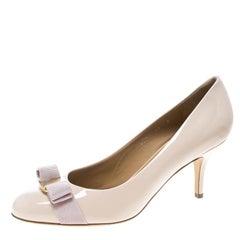 Salvatore Ferragamo Blush Pink Patent Leather Carla Vara Bow Pumps Size 40.5