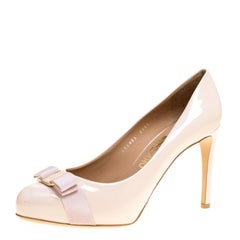 Salvatore Ferragamo Blush Pink Patent Leather Carla Vara Bow Pumps Size 41.5