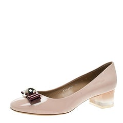 Salvatore Ferragamo Blush Pink Patent Leather Fiammetta Plexiglass Heel Pumps Si