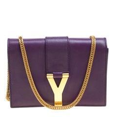Saint Laurent Purple Leather Mini ChYc Crossbody Bag