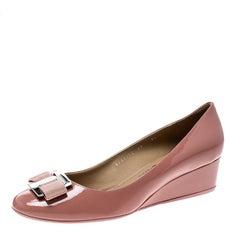 Salvatore Ferragamo Blush Pink Patent Ninna Wedge Pumps Size 40