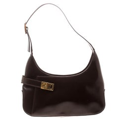 Salvatore Ferragamo Brown Leather Gancio Hobo