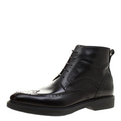 Salvatore Ferragamo Black Brogue Leather Gaiano Wing Tip Ankle Boots Size 43.5