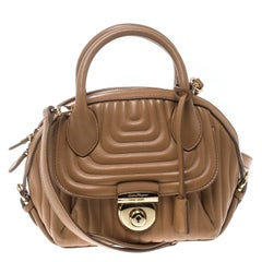 Salvatore Ferragamo Camel Quilted Leather Mini Fiamma Top Handle Bag