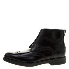 Salvatore Ferragamo Black Brogue Leather Gaiano Wing Tip Ankle Boots Size 45