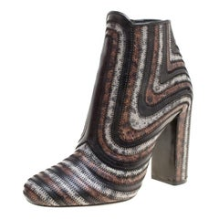 Salvatore Ferragamo Multicolor Leather Feeling Zig Zag Block Heel Ankle Boots Si